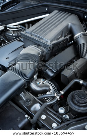a new car engine close up