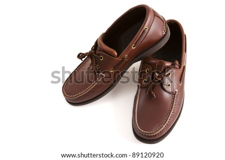 A new casual brown leather man's shoe for outdoor activities in relaxing day