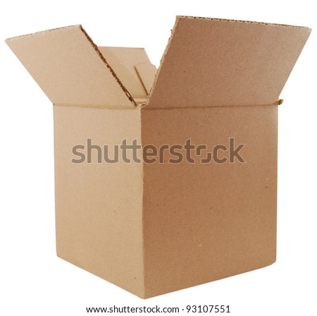 A new corrugated box isolated white - stock photo