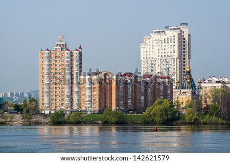 A new district on the banks of the river in Kiev