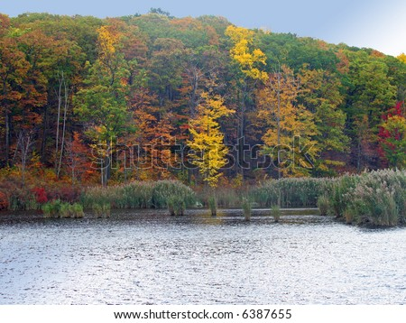 A New England lake in the fall