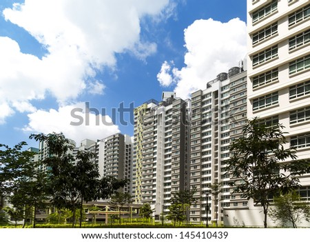 A new estate with neighborhood facilities car park at the center- Singapore - stock photo