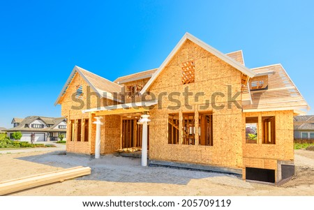 A new home under construction in Vancouver, Canada. - stock photo