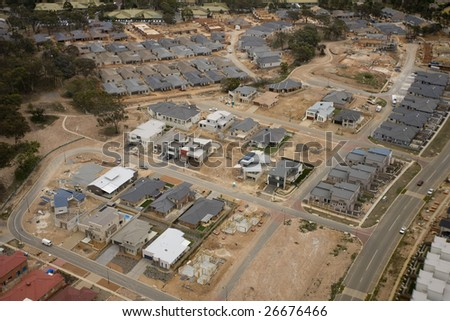 A new housing development area in Canberra, ACT, Australia - stock photo