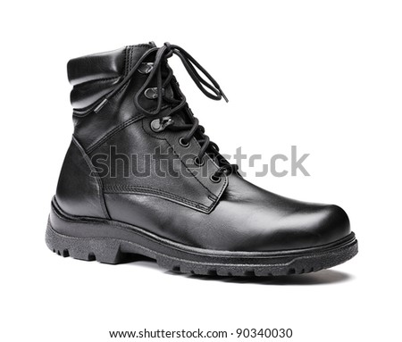 A New men's insulated black leather winter boot isolated on white.