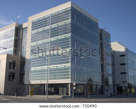 A new metal and glass biotech building in San Francisco's new Mission Bay development.