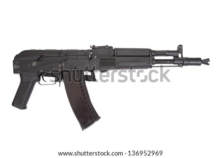 a new modern Kalashnikov assault rifle on white