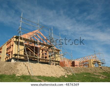 A new neighbourhood being built - stock photo