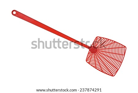 A new red fly swatter on a white background. - stock photo