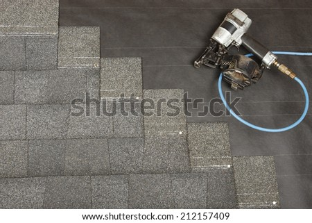 A new roof being applied - stock photo