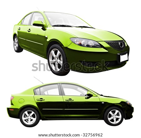 A new sedan style car isolated on a white background with clipping path.