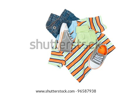 A new set of baby clothing isolated on white.