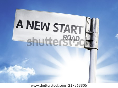 A New Start written on the road sign - stock photo