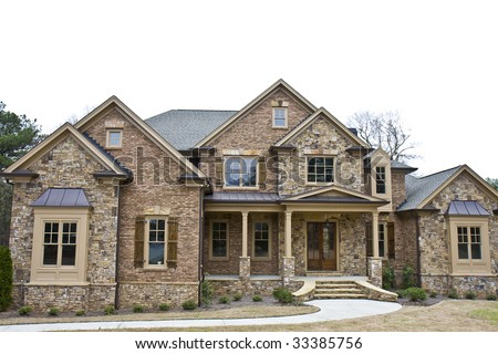 A new stone house on a white background