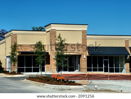 A new suburban shopping center under constrution in the Atlanta area. - stock photo