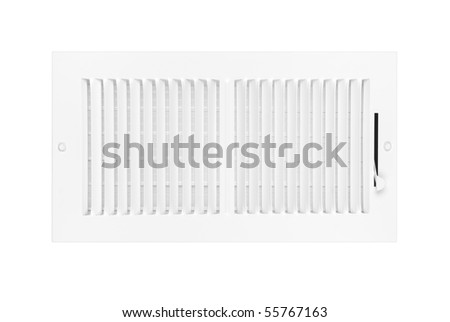 A new white heating and air conditioning vent isolated on white for use as a design element. - stock photo