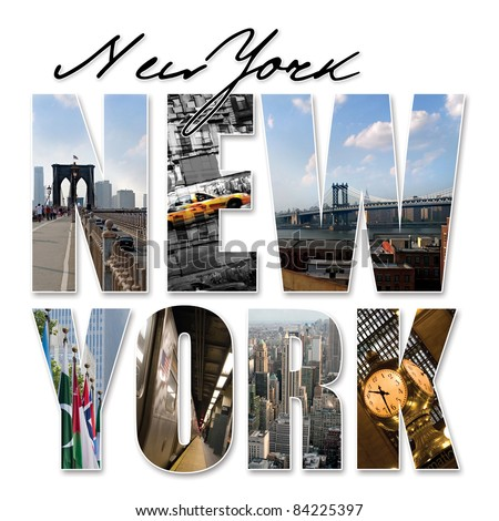 A New York City themed montage or collage featuring different famous locations and areas of The Big Apple. - stock photo