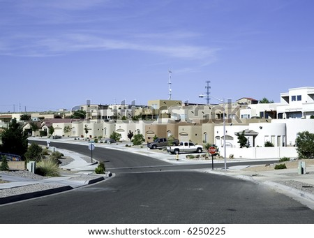 A newer neighborhood in New Mexico. - stock photo