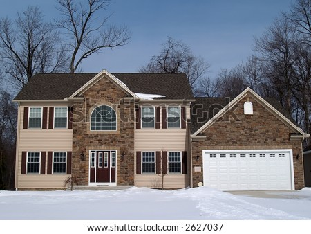 A newly constructed home, ready for new owners - stock photo