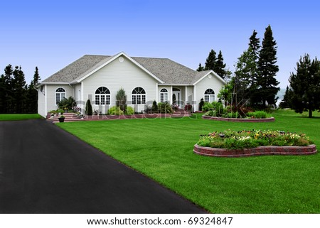 a newly constructed, modern rural home - stock photo