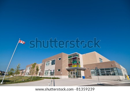 A newly constructed suburban elementary school.