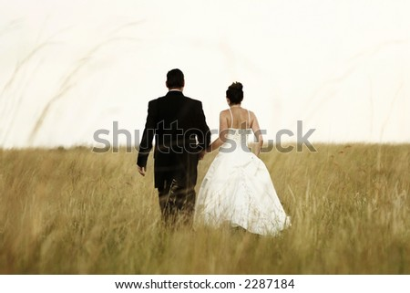 A newly wed couple walking through a grassland, holding hands - stock photo