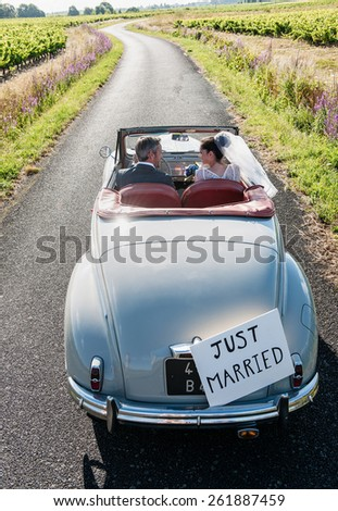 A newlywed couple is driving a convertible retro car on a country road for their honeymoon, top view - stock photo