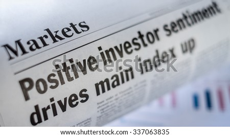 A newspaper with the headline in Stock market section,. Represent investment Psychology.