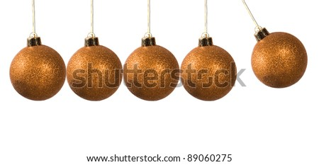 A newton pendulum made by xmas balls - stock photo