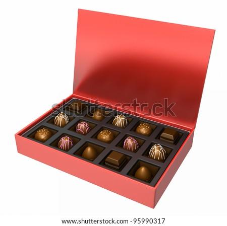 A nice assortment of milk and dark chocolate candies - stock photo