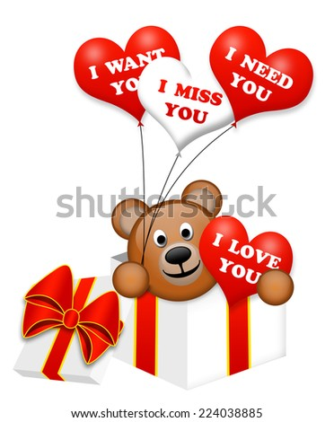 A nice bear in a present box - stock photo