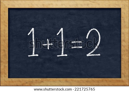 A nice black chalkboard with text 1+1=2