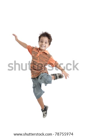 A nice brazilian and caucasian kid jumping in the air, wearing a nice orange t shirt, short jeans and tennis. Isolated on white. - stock photo