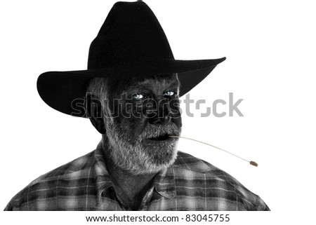a nice classic cowboy portrait, isolated on white with room for your text - stock photo