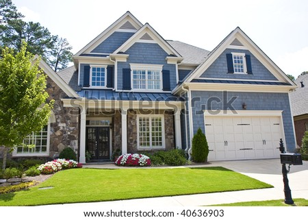 Classic Brick House Large Front Lawn Stock Photo 105314333