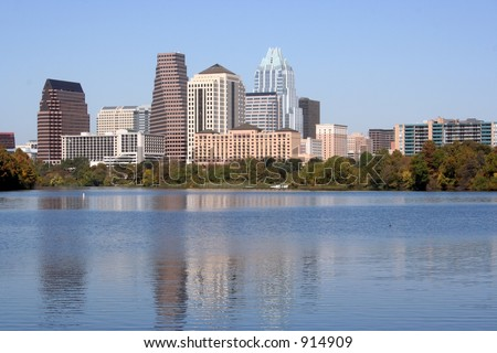 A nice clear shot of downtown Austin, Texas from across Town Lake.