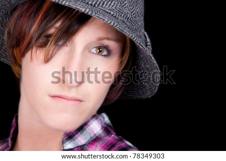 A nice closeup of a fashionable hot young lady.