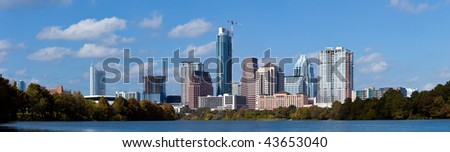 A nice cloudy day in downtown Austin Texas. - stock photo