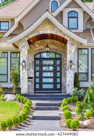 A nice entrance of a luxury house in Vancouver, Canada. - stock photo