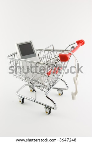 A nice figurative picture of a shopping trolley filled with a MP3 player.