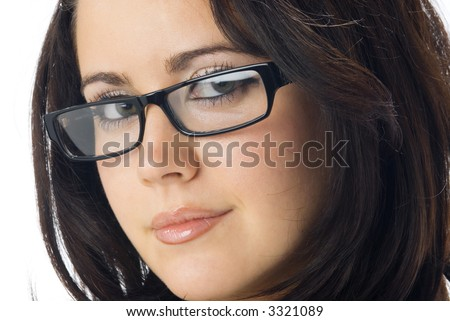 a nice portrait of young and really cute brunette with black glasses - stock photo