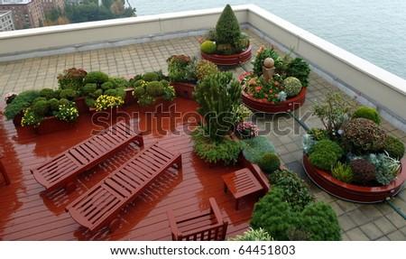 A nice rooftop garden in Manhattan - stock photo