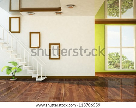 a nice room with a big window and the stairs - stock photo