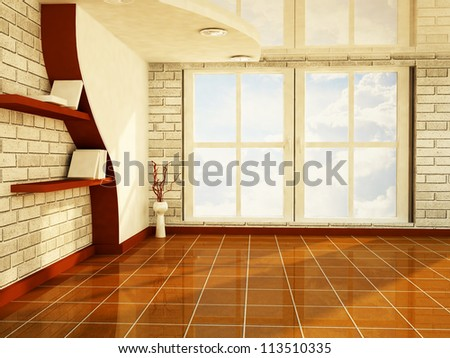 a nice room with a big window, rendering - stock photo