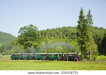 a nice scenery of a train passing through the field, a steam train into a beautiful landscape, image