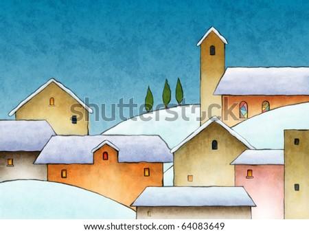 A nice snow covered village during Christmas. Original digital illustration. - stock photo