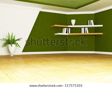 a nice vase with a plant in the room - stock photo