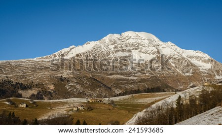 A nice view of Arera alp ,it is 2500 meter highest.italian alps. - stock photo
