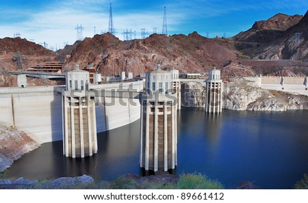 A nice view of Hoover Dam - stock photo