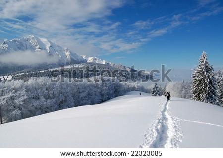 A nice walk in the Bucegi mountains, Romania. - stock photo